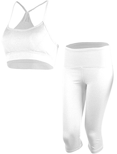 ViiViiKay Women's Athletic Yoga Gym Soprtswear Set Bra top and Capri Leggings WHITE M