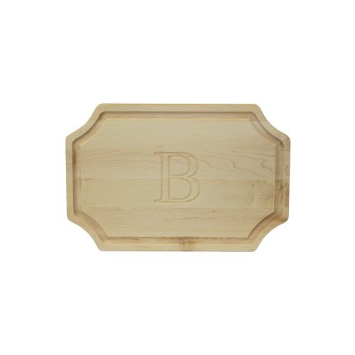 Monogram Large Platter (BigWood Boards 320-B Carving Board, Carving Board with Juice Well, Large Personalized Cutting Board with Juice Groove, Maple Serving Platter,)