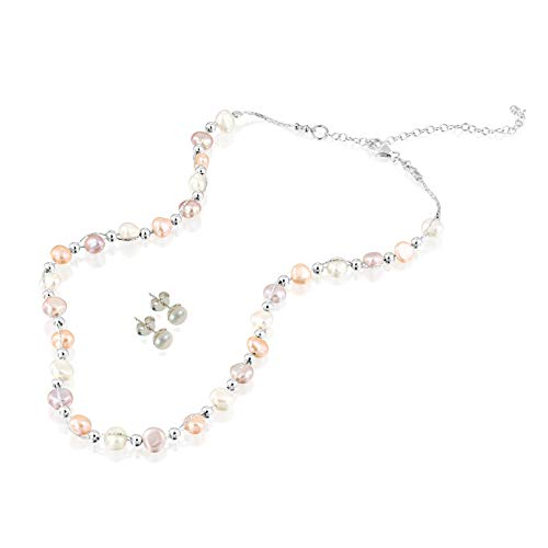Entwined Cultured White Peach and Purple Pearls and Sterling Silver Beads Chain Necklace with Bonus Sterling Pearl - Necklace Pearl Peach Cultured