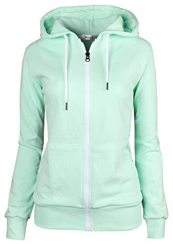 MAJECLO Women's Casual Full-Zip Hooded Lightweight Long Sleeve Sweatshirt(Medium, ()