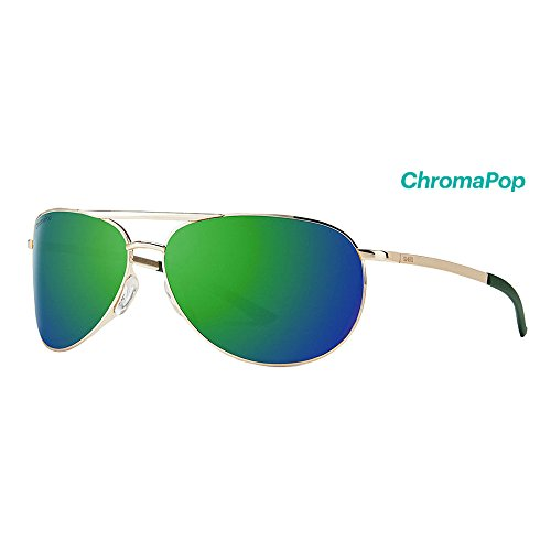 Smith Serpico Slim 2 ChromaPop Sunglasses, Gold, Sun Green Mirror - Sunglases Smith