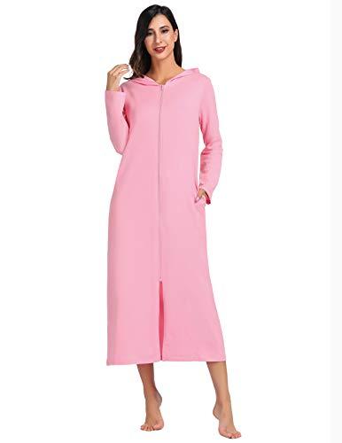 Women Soft Sleepwear Summer House Robes Zipper Lightweight Dressing Gown Pink S