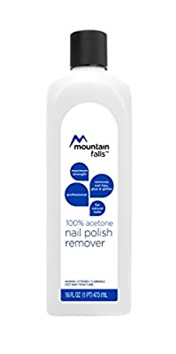 Mountain Falls 100% Acetone Nail Polish Remover for Natural Nails, Maximum Strength, 16 Fluid Ounce (Pack of 6)