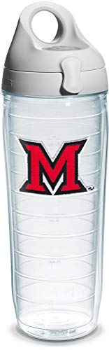 Tervis 1140828 Miami University of Ohio M Emblem Individual Water Bottle with Gray lid, 24 oz, Clear ()