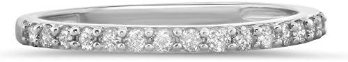 Jewel Tie 0.26 Carat (ctw) 14k Gold Round Diamond Ladies Prong Set Anniversary Wedding Band Stackable Ring 1/4 CT
