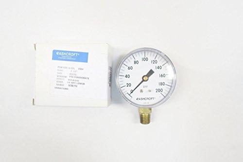 ASHCROFT 25W1005 H 02L 200# Pressure Gauge 0-200PSI 1/4IN NPT D598959