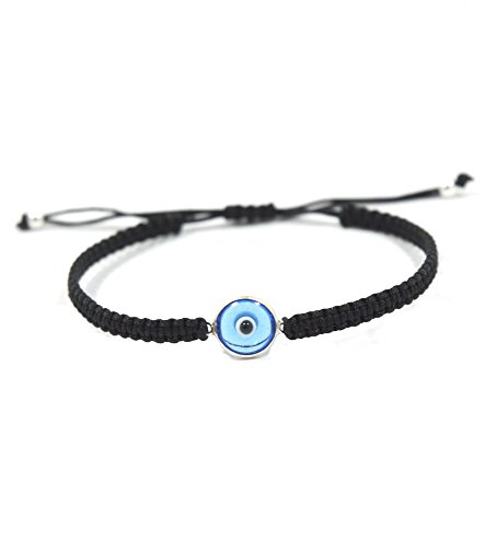 The Classic Glass Evil Eye Charm Bracelet for Men and Women - Simple and Classic (Black)