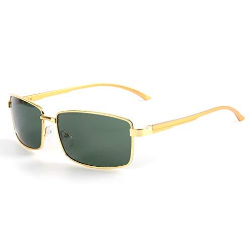 Soleil Green pour aviateur de Sakuldes Gold Frame polarisées Homme Lunettes Gold de Lens Lens Frame Color UV Lunettes Soleil Green 400 Protection gagnEPx