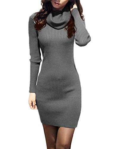 v28 Women Vintage Cowl Neck Stripe Kint Stretchable Elasticity Long Sleeve Slim Fit Sweater Dress XS/S US 2-8 Dark Grey