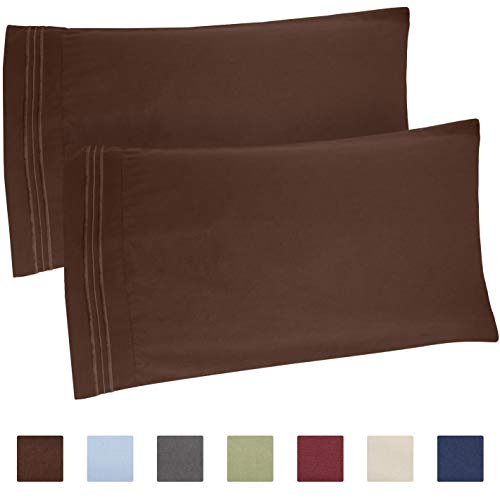 CGK Unlimited Brown Pillow Cases - Queen Size Set of 2 - Sof
