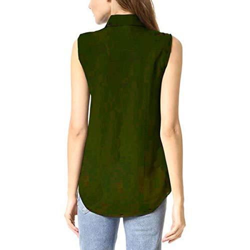 abbottonate Maniche Ufficio Camicie Camicia Causale Senza Camicetta da da Lavoro da Queenq Donna da Bavero Green x61Td1qw