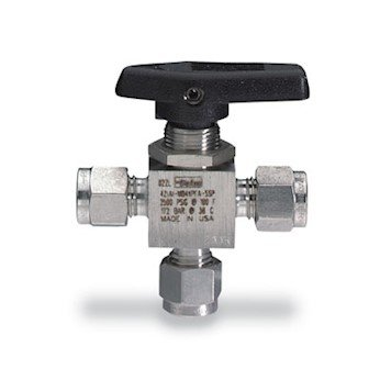 Parker Hannifin 6A-MB6XPFA-SSP Series MB6X Stainless Steel 3-Way Ball Valve with Nut, Perfluoro Alkoxy Seat, PTFE Seal, 3/8'' A-LOK Port