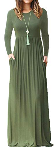 Domple Womens Manches Longues Élégante Balançoire Robe Maxi Taille Haute Avec Des Poches 2
