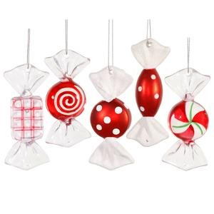 Vickerman Red-White Candy Ornament, 3.5-Inch (5 per Box)