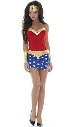 HPLY Women's DC Comics Super Heroes Wonder Woman Female superhero Dress (Superwoman Halloween Costumes)