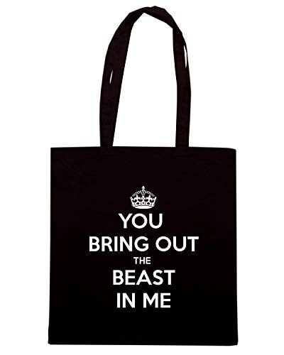 Speed Shirt Borsa Shopper Nera TKC4201 KEEP CALM AND YOU BRING OUT THE BEAST IN ME