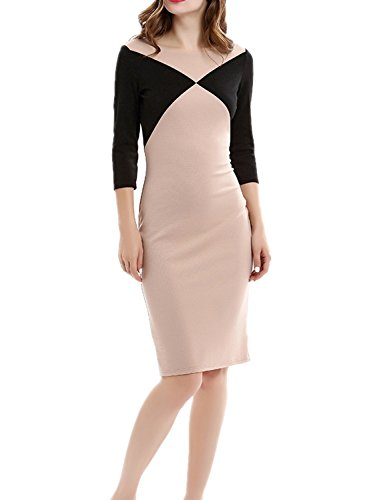 Wellwits Womens Sleeves Colorblock Bodycon