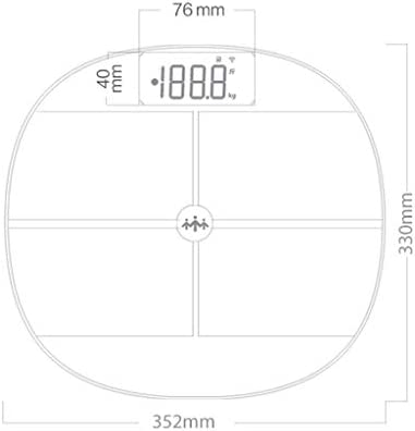 AA+ Glass Metal Vitreous Fat Scale, Electronic Scale, Ultra-Thin Digital Bathroom Scale, High-Precision Sensor - 35.2cmX33cm