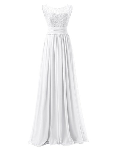 Ladies Chiffon Lace Wedding Party Bridal Dresses Long Prom Ball Gown Dress Ivory ()