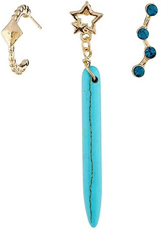BJINUIY Estrellas Populares con Diamantes y aretes de Turquesa, aretes Irregulares Irregulares, Azul Claro Femenino