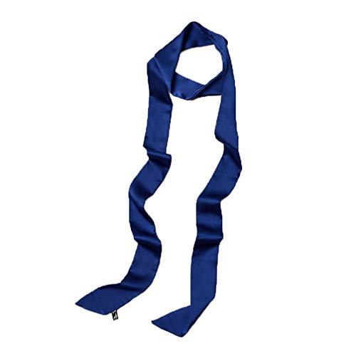 Lujuny Long Thin Chiffon Silk-like Scarf - Skinny Neck Tie Waist Belt for Women Girls, 78.0 inch (NAVY) -