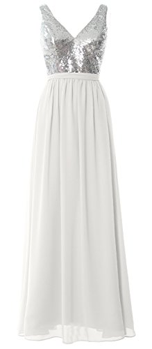 MACloth Women Straps V Neck Sequin Maxi Bridesmaid Dress 2017 Simple Prom Gown Silver-Ivory