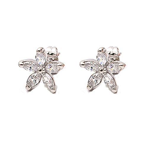 Cubic Zirconia Flower Earrings Non Piercing Clip on earring for Girls 0.5inch Silver