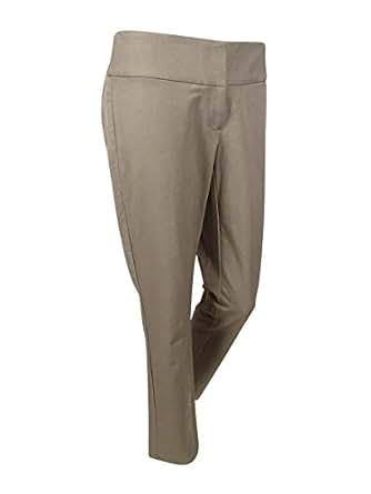 Alfani Womens Plus Tummy Slimming Flat Front Straight Leg Pants - Off-White - 16W
