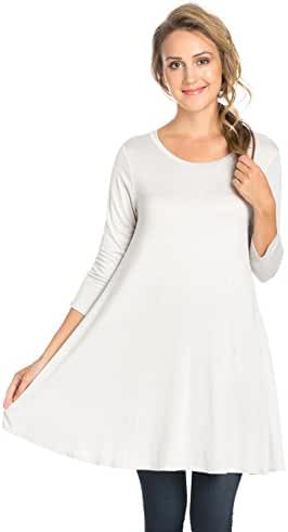 Frumos Women's Long Tunic 3/4 Sleeve Tunic Top With Pockets Made In USA