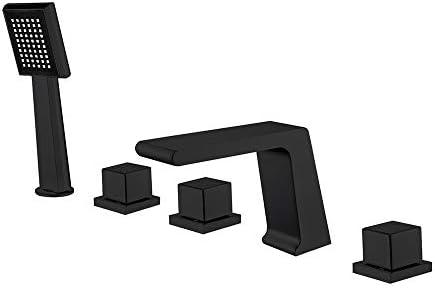黒バスタブ蛇口ハンドル3冷たい熱水で5穴バスバスシャワーセットは、デッキは、ハンドヘルドシャワーと滝バスタブミキサータップマウント