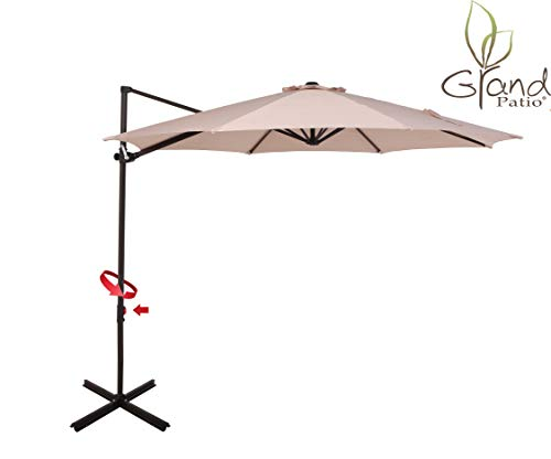 Aluminum Tilt Offset Umbrella - Grand Patio 10 FT Aluminum Offset Umbrella, UV Protected Patio Cantilever Umbrella with Tilt and 360° Rotation, Champagne