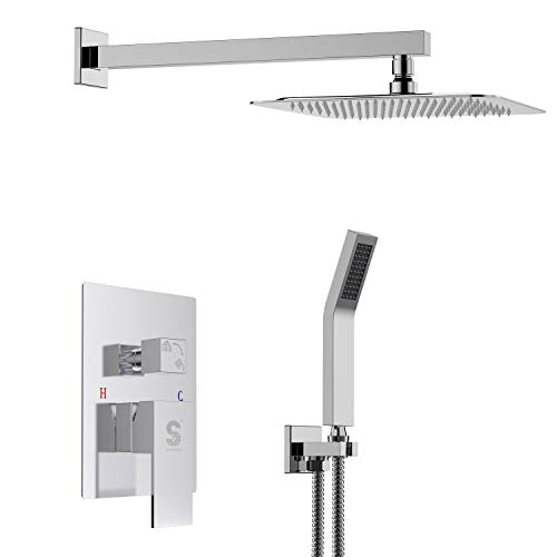 Bathroom Fixtures 2 Dial 1 Way Bathroom Thermostatic Rain Shower Head Set Round Mixer Faucet Tap Shower Valve Panel To Adopt Advanced Technology Shower Equipment
