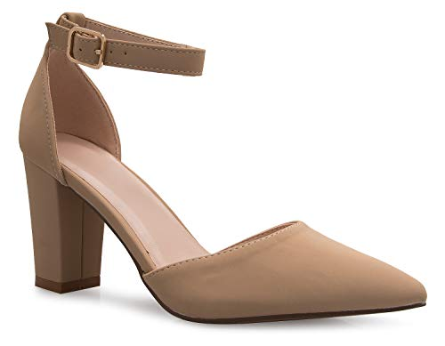 OLIVIA K Women's Sexy D'Orsay Ankle Strap Pointed Toe Block Heel Pump - Classic, Comfortable ()