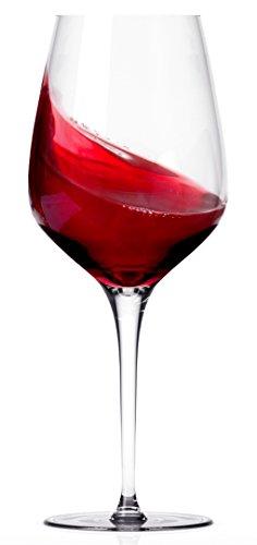 Miko Wine Glasses, Pure Lead Free Crystal, Wine Glass Set Of 6 (Burgundy)