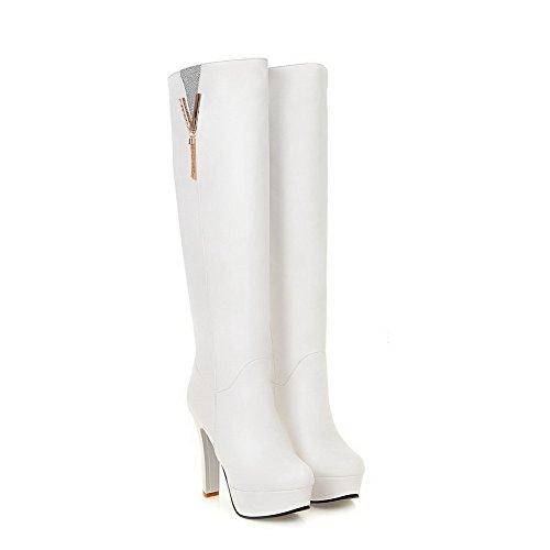 BalaMasa Womens Charms Chunky Heels Platform Urethane Boots White yL0GEfjtgj
