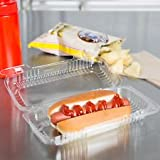 Hoagie / Hot Dog Sandwich Clear Hinged Lid Plastic Container 6