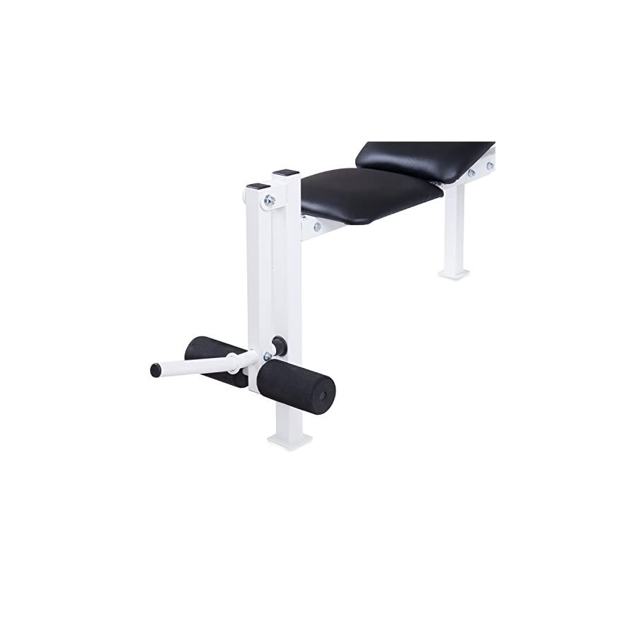 Body Champ Beginner and Light Lifting Standard Weight Bench with Leg Lift Curl Developer Extension Attachment (with UPDATED, BETTER packaging) WB125