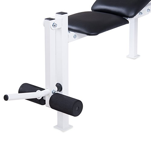 Body Champ WB125 Beginner and Light Lifting Standard Weight Bench with Leg Lift Curl Developer Extension Attachment (with UPDATED, BETTER packaging)
