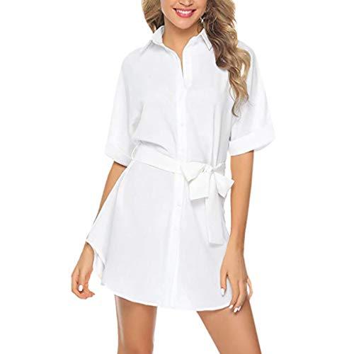 NANTE Top Loose Women's Dress Short Sleeve V Neck Dresses with Belt Button Down Shirt Mini Skirt Lady's Gown Sundress Beachwear (White, XL)