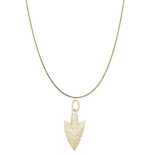 Rembrandt Charms 10K Yellow Gold Arrowhead Charm on a 10K Yellow Gold Box Chain Necklace, 20