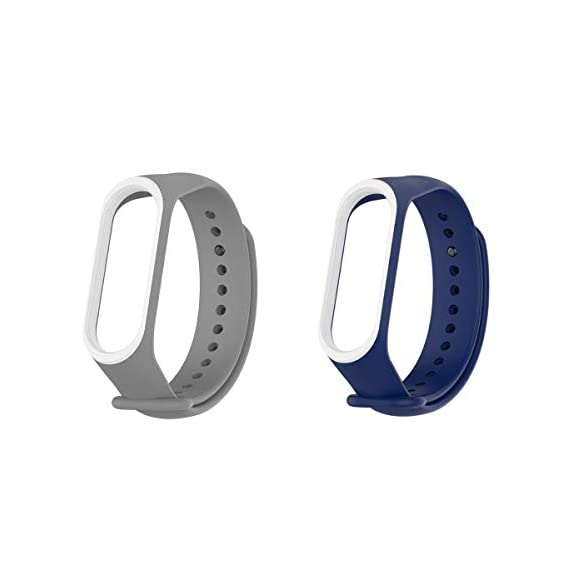 Epaal Dual Color Band Strap for Xiaomi Band 3/4, Mi Band 3/Mi Band 4 (Combo: Blue Whiteline+Grey Whiteline)