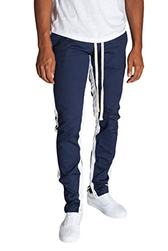 - KDNK Men's Tapered Skinny Fit Stretch Drawstring Ankle Zip Striped Track Pants (Small, Cobalt/White Stripes)