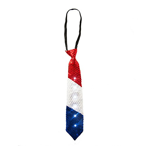 Patriotic Red White and Blue Sequins LED Light Up Tie - One (Novelty Mens Tie Clothing)