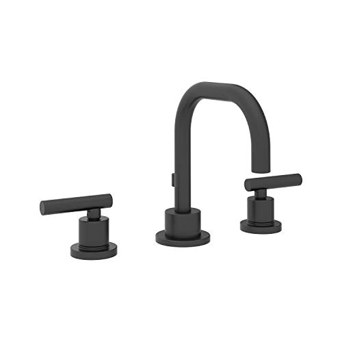- Symmons SLW-3512-MB-1.0 Dia Widespread 2-Handle Bathroom Faucet with Drain Assembly in Matte Black (1.0 GPM)