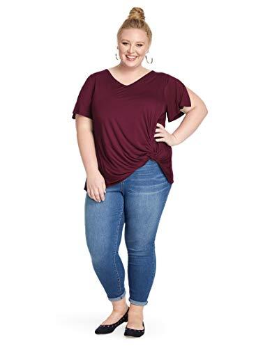 East Adeline Plus Size Jasmine V-Neck - Short Flutter Sleeve Top with Side Twist Knot - Flowy & Lightweight for Spring, Summer, Fall (Burgundy, 0X)