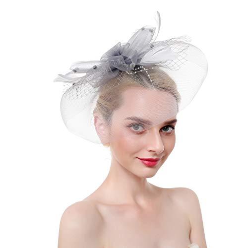 SMSW Fascinators Top Hat for Women Vintage Mesh Pearl Hair Clip Tea Party Wedding Headwear Cocktail Kentucky Derby Headband Grey ()