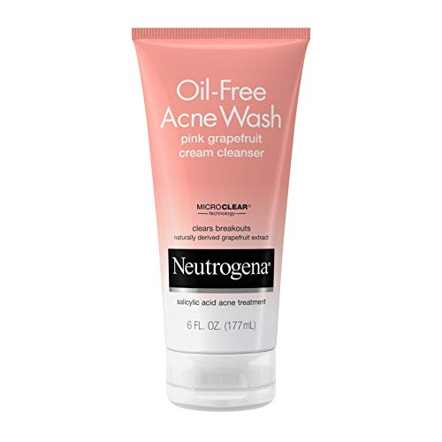 Neutrogena Oil-Free Acne Wash Pink Grapefruit Cream Facial Cleanser, Face Wash with Vitamin C and Salicylic Acid Acne Medicine to Eliminate Dirt and Oil, 6 oz