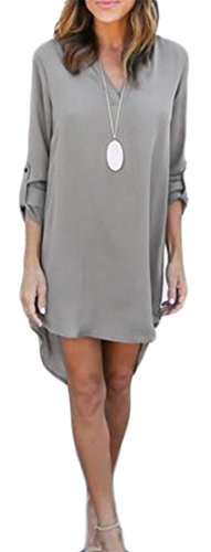 Sleeve Irregular Chiffon Gray Roll Womens Midi Casual Dress Cromoncent Shirt q7tXExwHn
