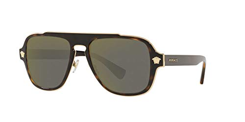 Versace Mens Sunglasses Tortoise/Gold Metal – Non-Polarized – 56mm