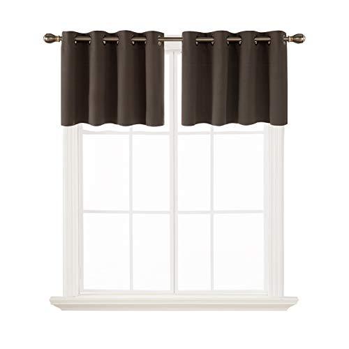 - Deconovo Kitchen Window Blackout Valances Window Treatment Valane Tier Curtains for Window 52x18 Inch 2 Panels Brown